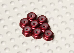 Red Anodised Aluminum M2 Nylock Nuts (8pcs)