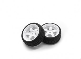 HobbyKing 1/10 Wheel/Tire Set VTC 5 Spoke Rear (White) RC Car 26mm (2pcs)