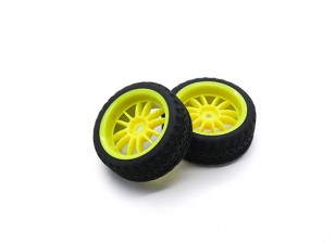 HobbyKing 1/10 Wheel/Tire Set AF Rally Spoke Rear(Yellow) RC Car 26mm (2pcs)