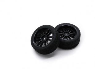 HobbyKing 1/10 Wheel/Tire Set AF Rally Spoke Rear (Black) RC Car 26mm (2pcs)