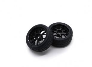 HobbyKing 1/10 Wheel/Tire Set VTC Y Spoke Rear(Black) RC Car 26mm (2pcs)