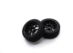 HobbyKing 1/10 Wheel/Tire Set AF Rally Y-Spoke(Black) RC Car 26mm (2pcs)