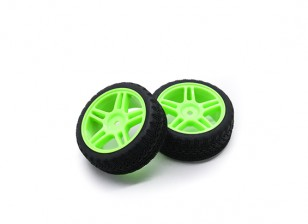 HobbyKing 1/10 Wheel/Tire Set AF Rally Star Spoke(Green) RC Car 26mm (2pcs)