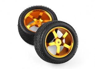 HobbyKing 1/10 Aluminum 5-Spoke Rear (Gold) Wheel/  Small Block Tire 12mm Hex (2pcs/bag)