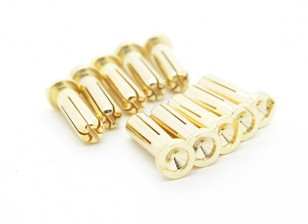 5mm Male Gold Plated Spring Connector - Low Profile (10pcs)