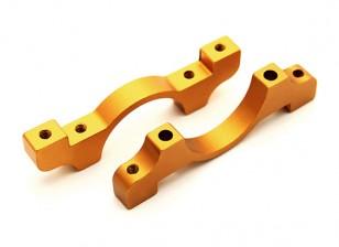 Gold Anodized CNC Aluminum Tube Clamp 20mm Diameter