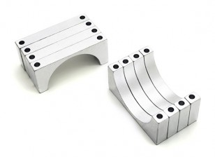 Silver Anodized Double Sided 6mm CNC Aluminum Tube Clamp 30mm Diameter (Set of 4)