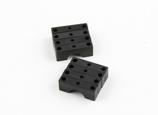Black Anodized Double Sided CNC Aluminum Tube Clamp 8mm Diameter