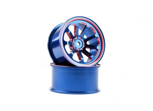 HobbyKing 1/10 Aluminum 9-Spoke Blue/Red Drift Wheel (2pcs)