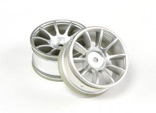RiDE 1/10 Mini 10 Spoke Wheel 0mm Offset - Matt Silver (2pcs)