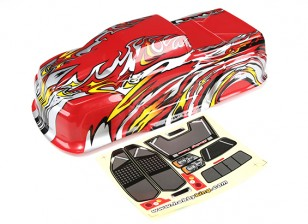 HobbyKing™ 1/10 Scale Pre-Painted Monster Truck Bodyshell-Red with Flame Graphics