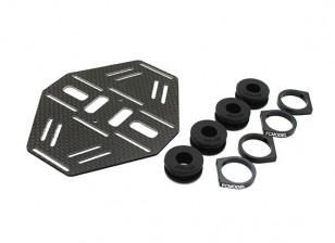 Carbon Multi-Rotor Dual Battery Mount with Rubber Damping Suits 10mm Booms