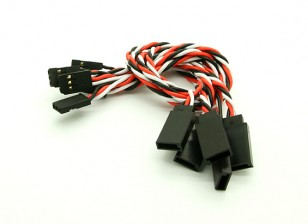 20cm Futaba 22AWG Twisted Extension Wire M to F 5pcs