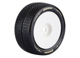 LOUISE T-TURBO 1/8 Scale Truggy Tires Super Soft Compound / 1/2 Offset / White Rim / Mounted