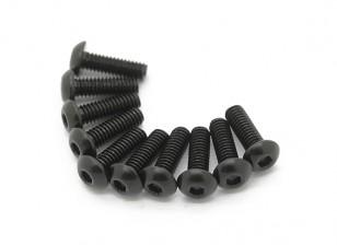 Screw Button Head Hex M2.5 x 6mm Machine Thread Steel Black (10pcs)