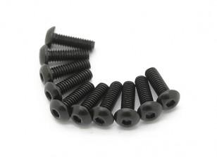 Screw Button Head Hex M2.5 x 8mm Machine Thread Steel Black (10pcs)