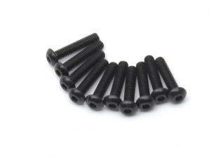 Screw Button Head Hex M2.5 x 12mm Machine Thread Steel Black (10pcs)