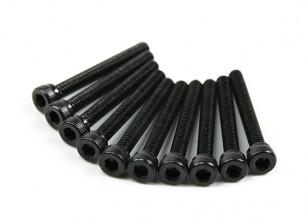 Screw Socket Head Hex M2.5 x 20mm Machine Thread Steel Black (10pcs)