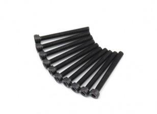 Screw Socket Head Hex M2.5 x 22mm Machine Thread Steel Black (10pcs)