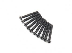 Screw Button Head Hex M2.6 x 20mm Machine Thread Steel Black (10pcs)