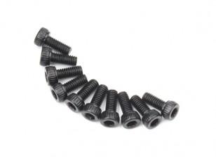Screw Socket Head Hex M2.6 x 6mm Machine Thread Steel Black (10pcs)
