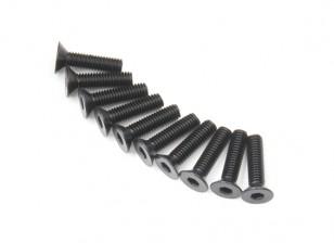 Screw Countersunk Hex M3x12mm Machine Thread Steel Black (10pcs)