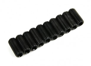 Screw Grub Hex M3x6mm Machine Thread Steel Black (10pcs)