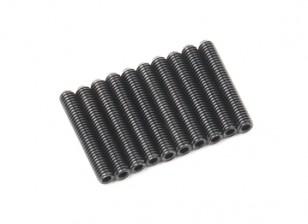 Screw Grub Hex M3x18mm Machine Thread Steel Black (10pcs)