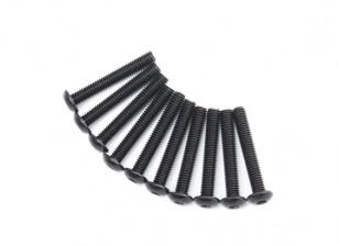 Screw Button Head Hex M4 x 26mm Machine Steel Black (10pcs)