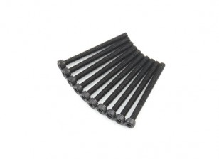 Screw Socket Head Hex M4 x 45mm Machine Steel Black (10pcs)
