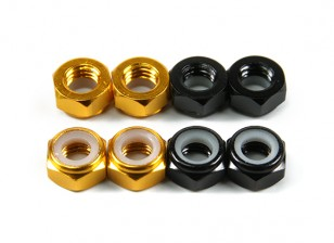 Aluminum Low Profile Nyloc Nut  M5 (4 Black CW & 4 Gold CCW)