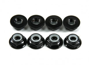 Aluminum Flange Low Profile Nyloc Nut M5 Black (CW) 8pcs