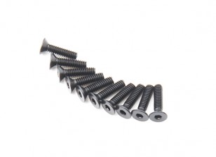 Screw Countersunk Hex M2 X 8mm Machine Steel Black (10pcs)