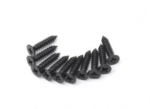 Screw Countersunk Phillips M2.5x12mm Self Tapping Steel Black (10pcs)