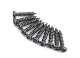 Screw Button Head Phillips M2.5x12mm Self Tapping Steel Black (10pcs)