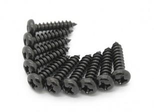 Screw Round Head Phillips M3x12mm Self Tapping Steel Black (10pcs)