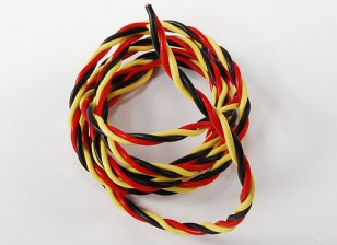 Twisted 22AWG servo wire 1mtr (R/B/Y) 22AWG