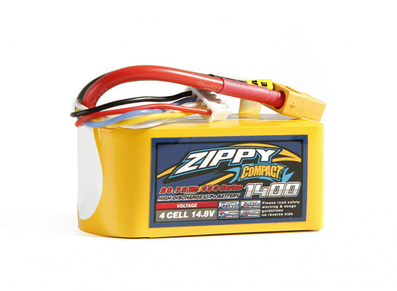 ZIPPY Compact 1400mAh 4S 65C Lipo Pack w/XT60