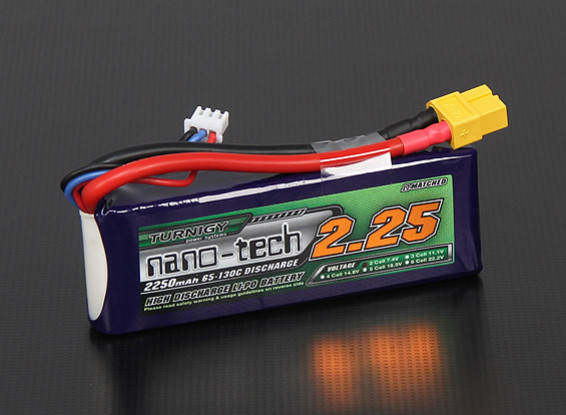 Turnigy nano-tech 2250mAh 2S 65 ~ 130C Pack Lipo
