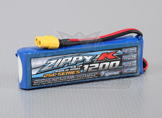 Zippy-K Flightmax 1200mAh 4S1P 25C LiPoly Battery