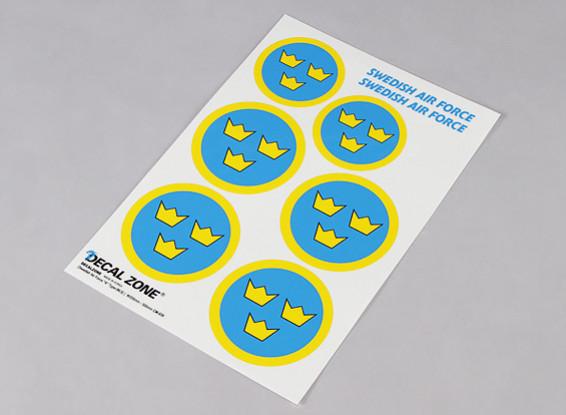 Schaal Nationale Insignes van de Luchtmacht Sticker Sheet - Zweden