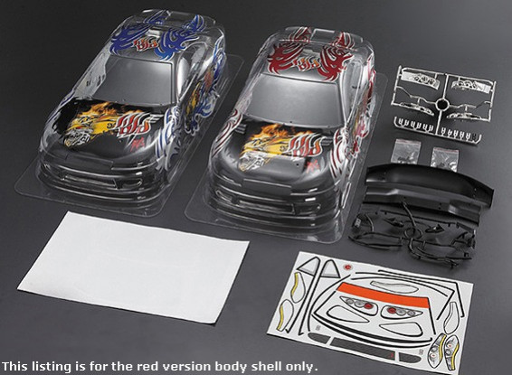 1/10 S15 Car Body Shell w / voorgedrukte Graphics (190mm) - Red Version