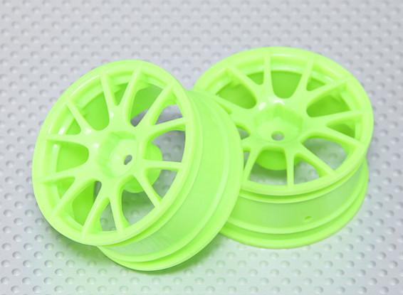 01:10 Scale Wheel Set (2 stuks) Flourescent Green Split 6-Spoke RC Car 26mm (3mm Offset)