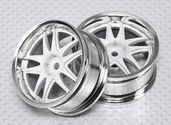 01:10 Schaal Wheel Set (2 stuks) Wit / Chroom Split 5-Spoke RC Car 26mm (geen offset)