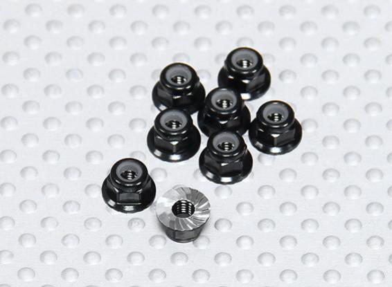 Zwart geanodiseerd aluminium M3 Nylock Wheel Nuts w / Serrated Flens (8 stuks)