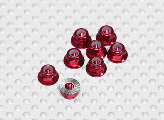Red geanodiseerd aluminium M3 Nylock Wheel Nuts w / Serrated Flens (8 stuks)