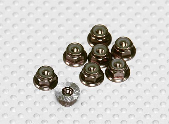 Titanium Kleur geanodiseerd aluminium M4 Nylock Wheel Nuts w / Serrated Flens (8 stuks)