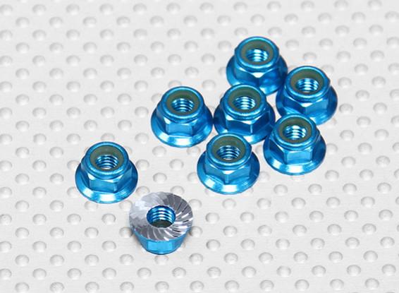 Blauw geanodiseerd aluminium M5 Nylock Wheel Nuts w / Serrated Flens (8 stuks)