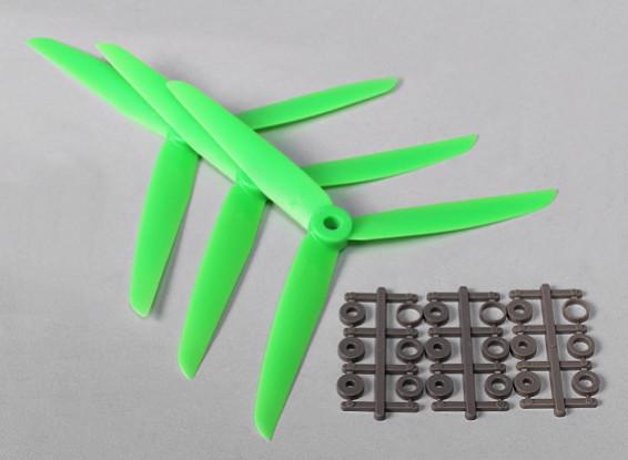 Hobbyking ™ 3-Blade Propeller 7x3.5 Green (CW) (3 stuks)