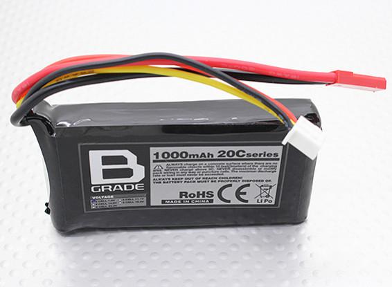 B-grade 1000mAh 2S 20C LiPoly Battery